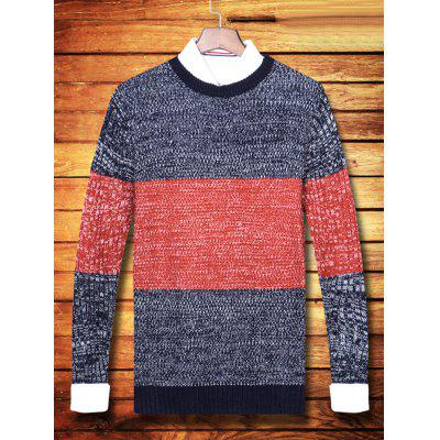Col rond Couleur Striped Ribbed Sweater