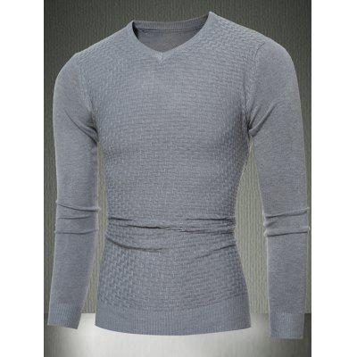 Buy LIGHT GRAY L Slim Fit V-Neck Sweater in Textured Knit for $15.65 in GearBest store