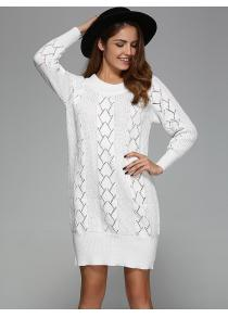 Argyle Openwork Tunic Knitted Long Sleeve Mini Dress