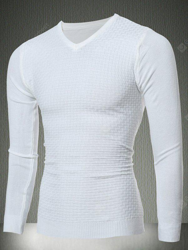 Slim Fit V-Neck Sweater Textured Knit XL WHITE
