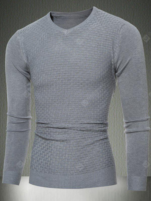 Slim Fit V-Neck Sweater Textured Knit M LIGHT GRAY