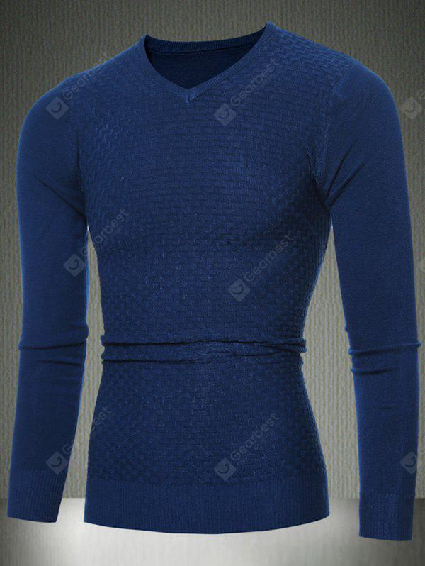 Slim Fit V-Neck Sweater Textured Knit XL CADETBLUE