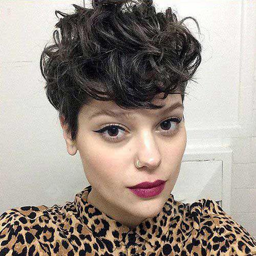 Short Pixie Cut Side Bang Fluffy Curly Synthetic Wig
