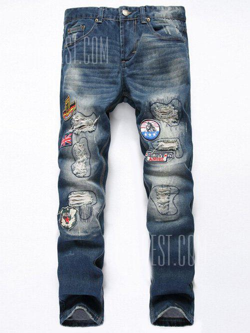 DENIM BLUE Straight Leg Flag Applique Distressed Jeans