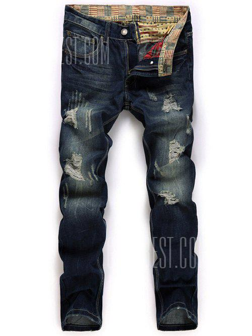 DEEP BLUE Zipper Fly Straight Leg Destroyed Washed Jeans