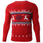 cheap Snowflake Deer Jacquard Round Neck Sweater