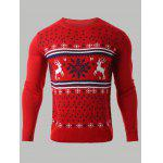 Snowflake Deer Jacquard Round Neck Sweater