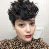 Short Pixie Cut Side Bang Fluffy Curly Synthetic Wig - BLACK