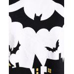 Bat Print One Shoulder Sweatshirt - BLACK