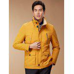 Zip Up Button Pocket Jacket ODM Designer - YELLOW