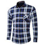 cheap Plus Size Pocket Embellished Long Sleeve Plaid Shirt