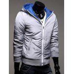cheap Hooded Rib Splicing Zip-Up Padded Jacket