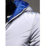 Hooded Rib Splicing Zip-Up Padded Jacket for sale
