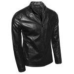 Collare stand dimagrante Zip-up PU-Leather Jacket - NERO