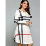 Plus Size Striped Long Sleeve T-Shirt Dress - OFF-WHITE