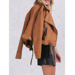 cheap Zip Pocket Faux Suede Jacket