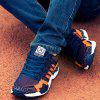 Breathable Color Spliced Tie Up Athletic Shoes - BLUE AND ORANGE