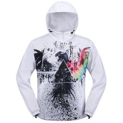 Elastic Cuff Paint Pattern Print Hooded Zip Up Jacket
