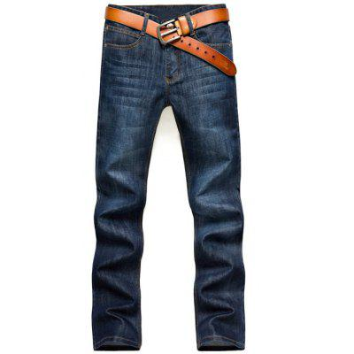 Zipper Fly Straight Denim Pants