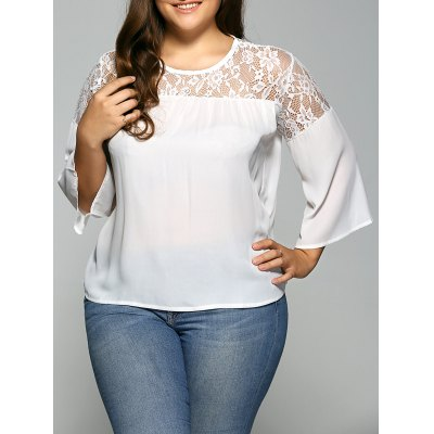Lace Spliced Plus Size Chiffon Sheer Blouse