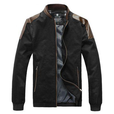PU-Leather Splicing Design Stand Collar Zip-Up Jacket