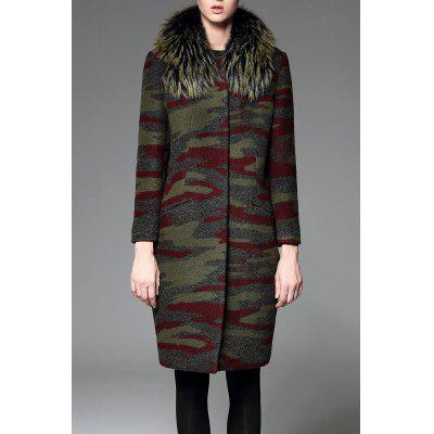 Faux Fur Collar Camo Wool Blend Coat