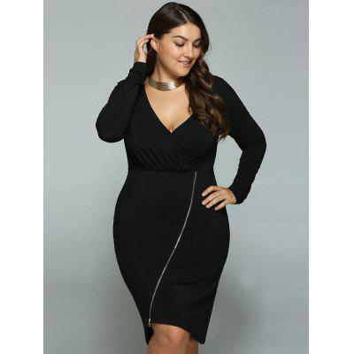 Plus Size Inclined Zipper Surplice Dress