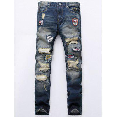 Buy DENIM BLUE Patch Design Broken Hole Jeans for $46.90 in GearBest store