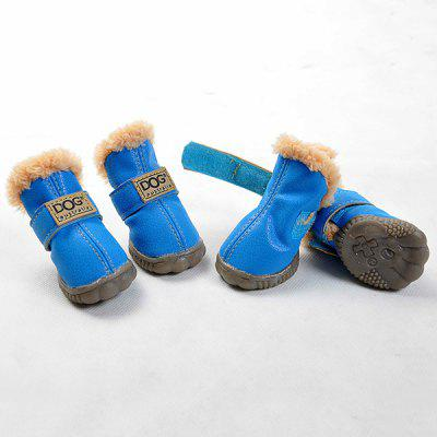 Warm Waterproof PU Leather 4PCS/ Set Dog Boots