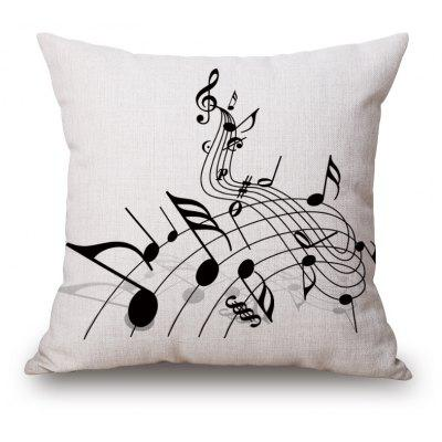 Casual Music Score Note Pattern Square Shape Pillowcase