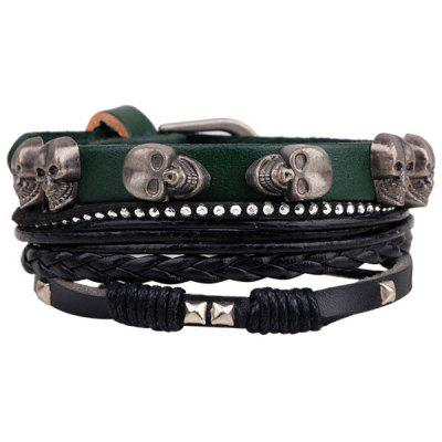 Skull Rivet Faux Leather Braided Bracelet