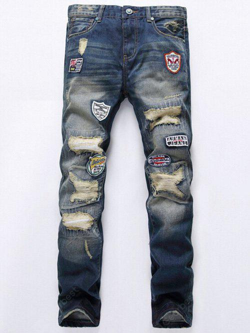 DENIM BLUE Patch Design Broken Hole Jeans