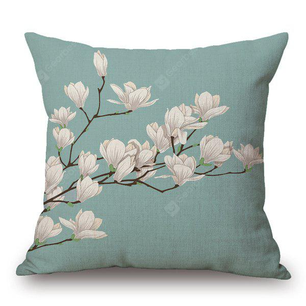 Buy Simple Style Spring Scenery Flax Light Purple Flower Pattern Pillow Case LIGHT GREEN