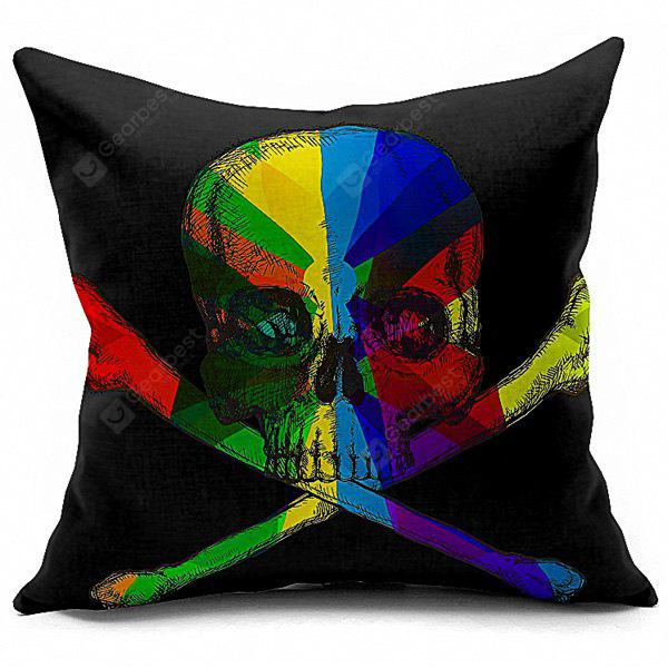 Halloween Colorful Skull Printed Sofa Cushion Pillow Case