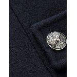 Turn-Down Collar Button Embellished Woolen Coat - CADETBLUE