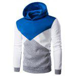Slim Fit Color Block Kapuzenpulli - BLAU