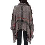 cheap Turtleneck Fringed Knit Poncho