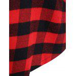 Casual Long Sleeve Hooded Plaid Check Shirt - RED