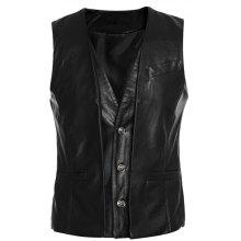 Faux Twinset V-Neck Single-Breasted PU-Leather Wasitcoat
