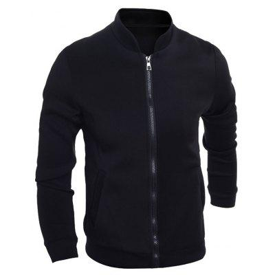 Brief Stand Collar Zip Up Jacket