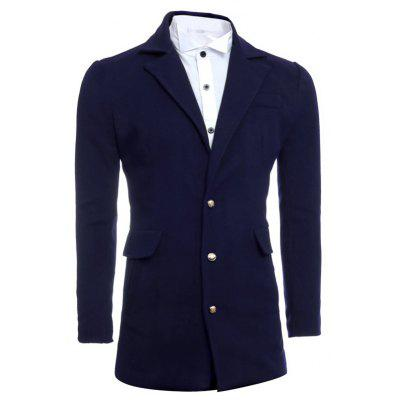 Single Breasted Lapel Slimming Woolen Coat
