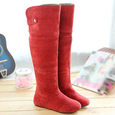 Suede Metal Hidden Wedge Knee High Boots