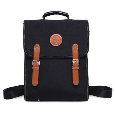 Color Spliced Double Buckle Nylon Backpack