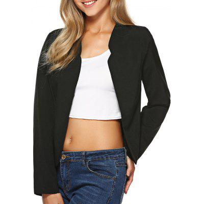Buy BLACK XL Stand Collar Plain Slimming Blazer for $21.98 in GearBest store
