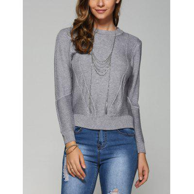 Buy GRAY Asymmetrical Side Slit Textured Sweater for $17.36 in GearBest store