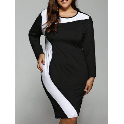 Buy BLACK Plus Size Color Block Long Sleeve Dress for $26.81 in GearBest store