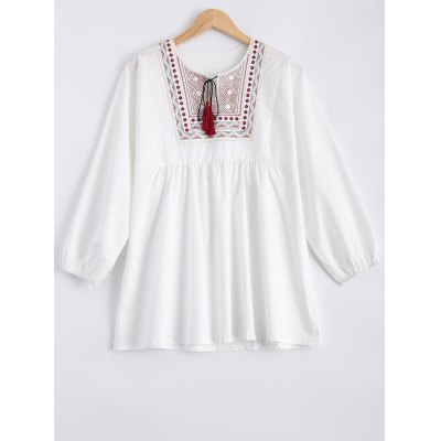 Buy WHITE Plus Size Embroidered Fringed Blouse for $24.54 in GearBest store