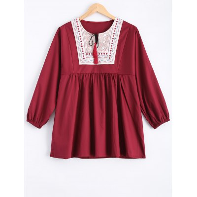 Buy DEEP RED Plus Size Embroidered Fringed Blouse for $24.54 in GearBest store
