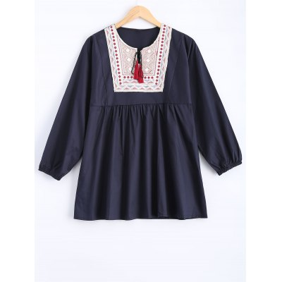Buy DEEP BLUE Plus Size Embroidered Fringed Blouse for $24.54 in GearBest store
