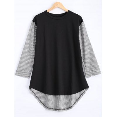 Buy BLACK Plus Size Pinstriped Spliced Asymmetrical Blouse for $22.90 in GearBest store